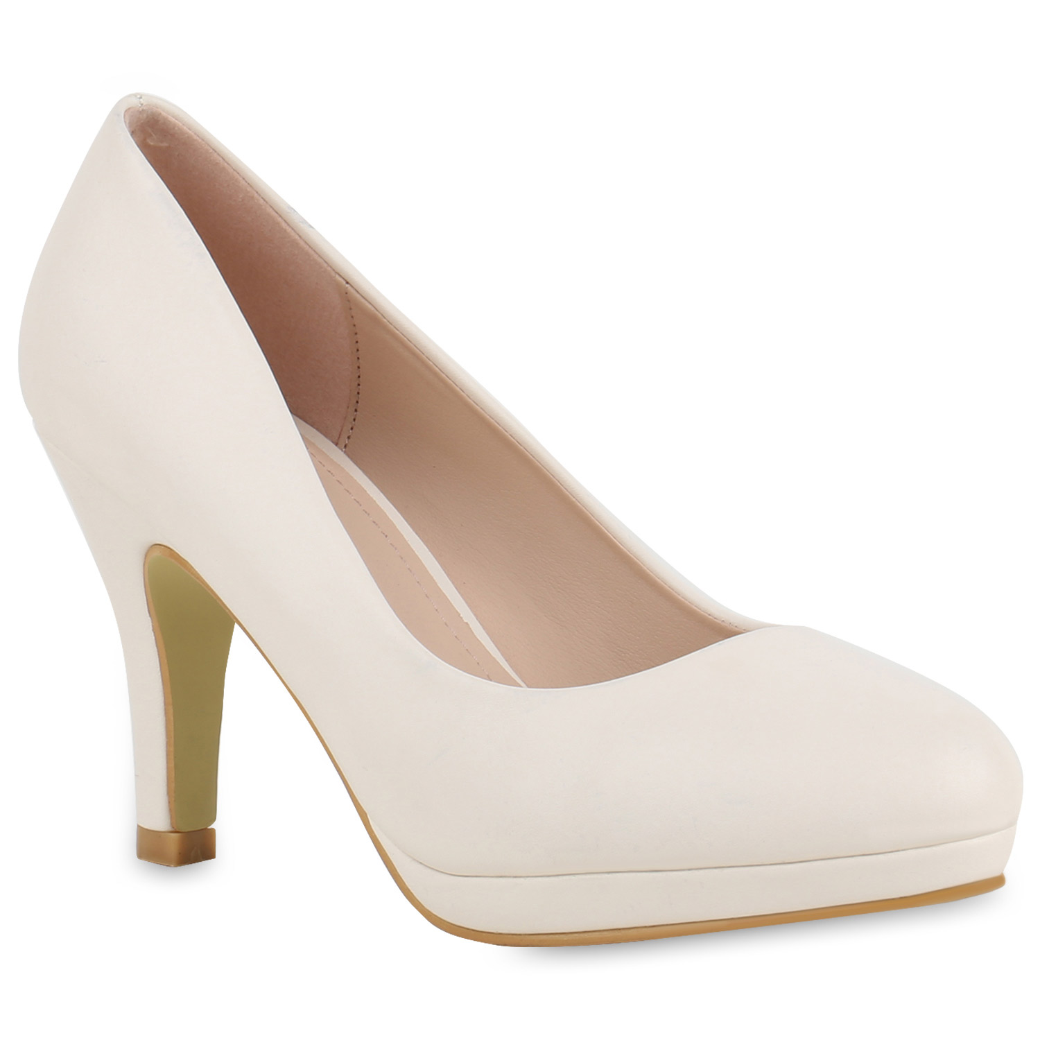 Damen Plateau Pumps - Creme