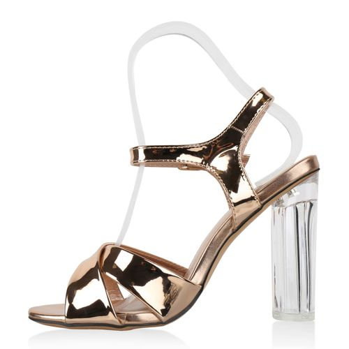 Damen Sandaletten High Heels - Rose Gold