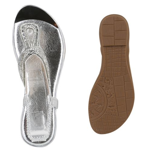 Damen Sandaletten Zehentrenner - Silber