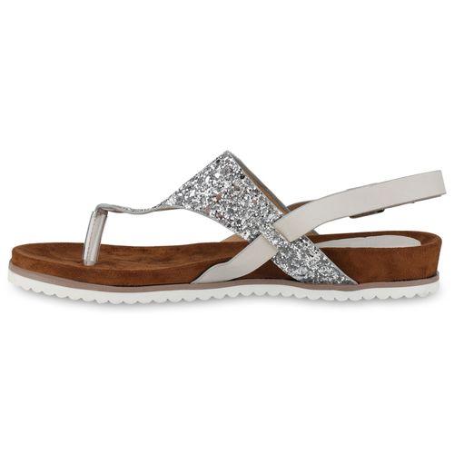 Damen Sandalen Zehentrenner - Silber