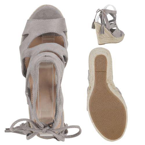 Damen Sandaletten Keilsandaletten - Grau