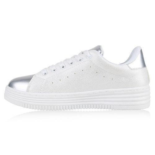 Weiß Plateau Silber Plateau Damen Damen Silber Sneaker Sneaker Weiß Damen afwxS6q6