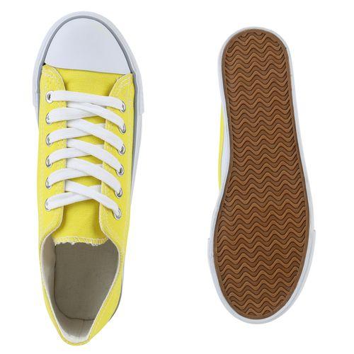 Damen Plateau Sneaker - Gelb