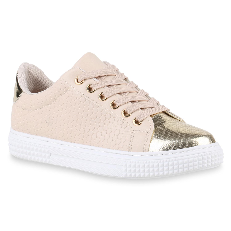 Damen Plateau Sneaker - Creme