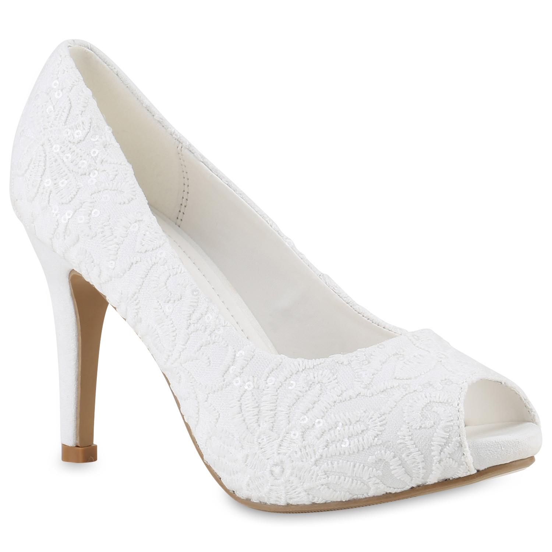 Damen Pumps Brautschuhe - Weiß