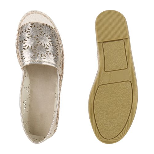 Billig Damen Schuhe Damen Slippers in Gold 817547155