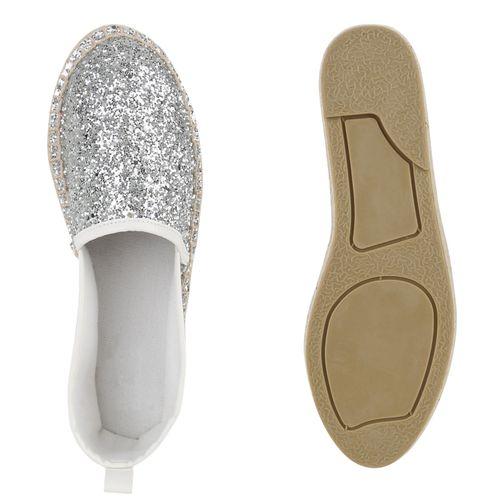 Damen Slippers Espadrilles - Silber