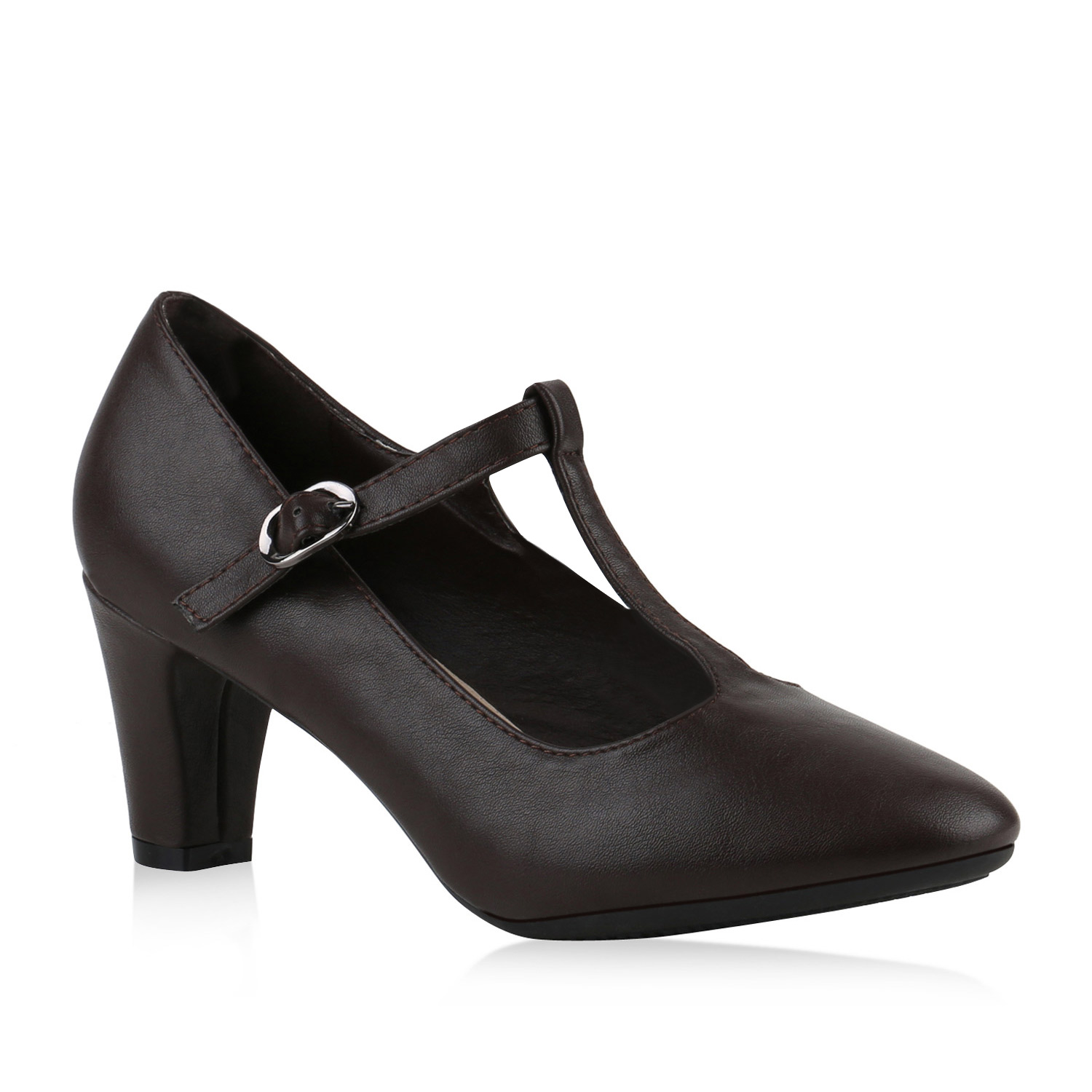 Damen Pumps Mary Janes - Dunkelbraun