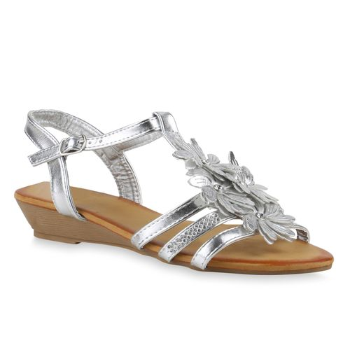 Sandaletten Sandaletten Keilsandaletten Silber Keilsandaletten Damen Damen 50pP6xqan