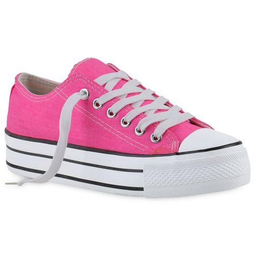 Damen Plateau Sneaker - Neon Pink