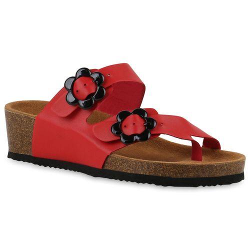Damen Sandaletten Zehentrenner - Rot