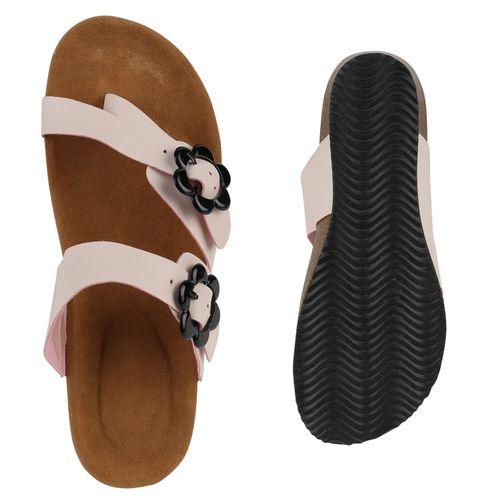 Damen Sandaletten Zehentrenner - Nude
