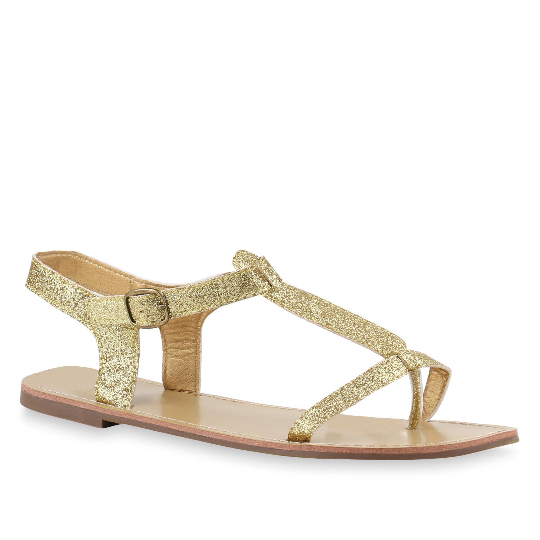 Damen Sandalen Zehentrenner - Gold