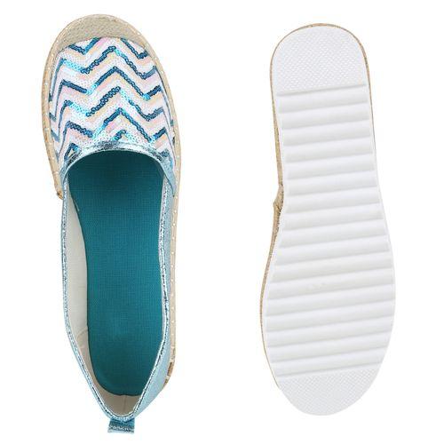 Damen Slippers Espadrilles - Hellblau Metallic