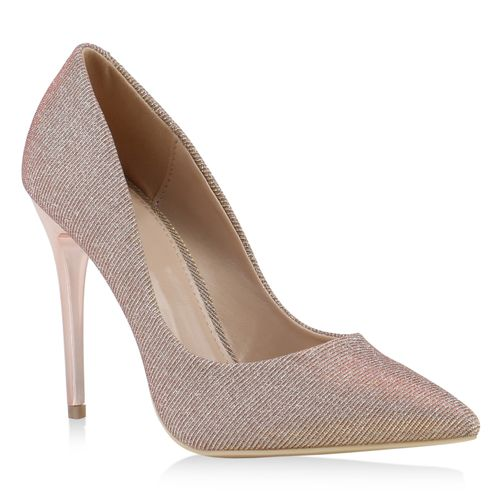 Damen Spitze Pumps - Rose Gold