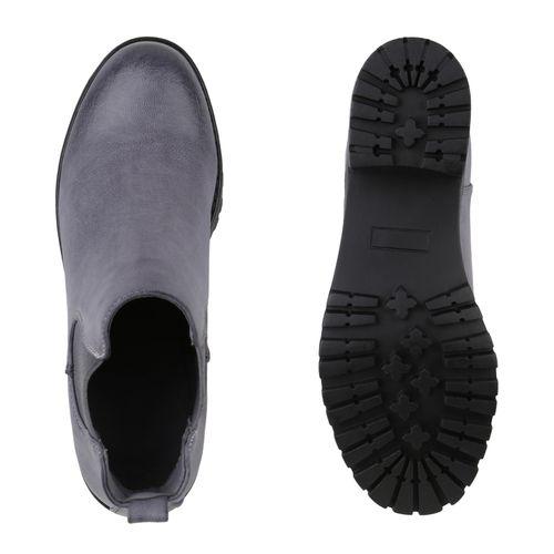 Damen Stiefeletten Chelsea Boots - Blau Schwarz