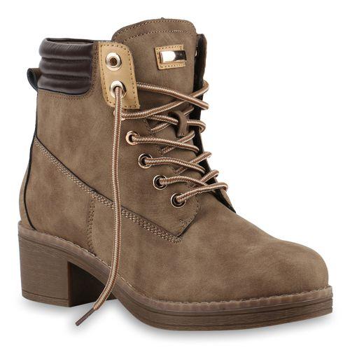 Boots Worker Damen Damen Worker Khaki Khaki Stiefeletten Stiefeletten Boots Damen qB0Uwx8U