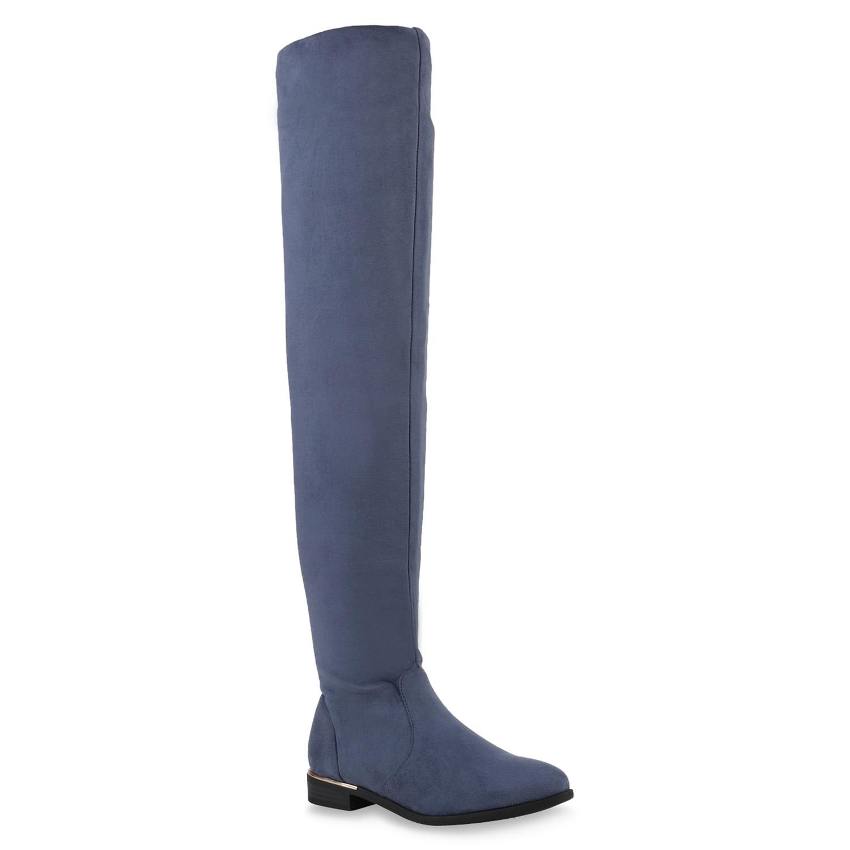 Damen Stiefel Overknees - Blau