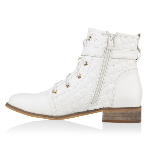 Damen Stiefeletten Schnürstiefeletten - Weiß