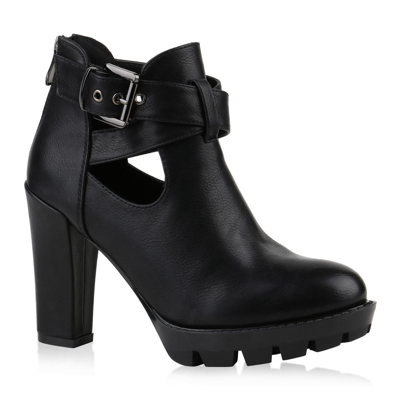 Stiefel für Frauen - Damen Stiefeletten Plateau Boots Schwarz  - Onlineshop Stiefelparadies