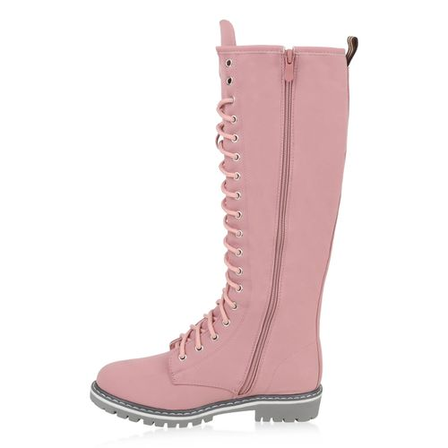 Damen Stiefel Worker Boots - Rosa