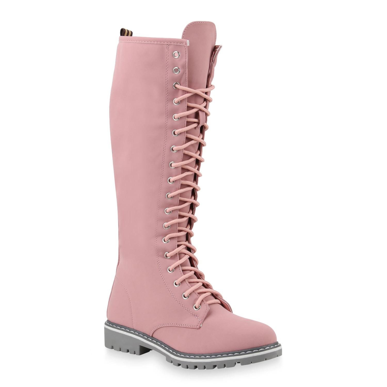 neues Design großes Sortiment Professionel Damen Stiefel Worker Boots - Rosa