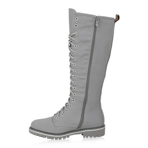 Damen Stiefel Worker Boots - Grau