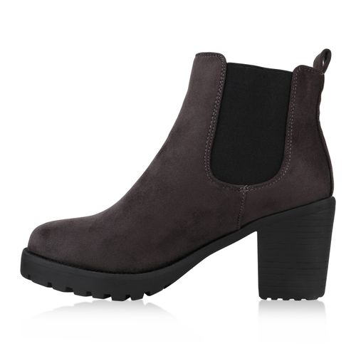 Damen Boots Stiefeletten Stiefeletten Damen Chelsea Chelsea Dunkelgrau Pq5vzR