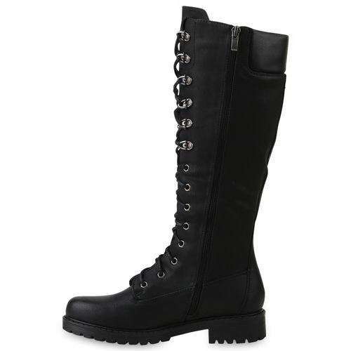 Damen Stiefel Worker Boots - Schwarz