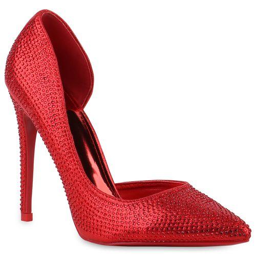 Damen Spitze Pumps - Rot Metallic
