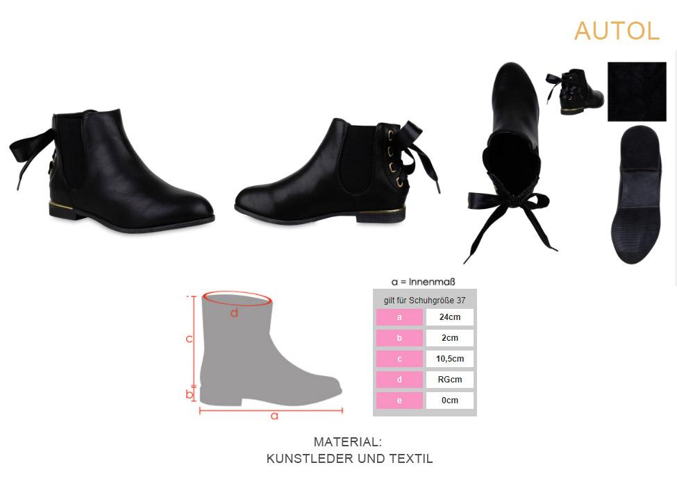 Damen Stiefeletten Chelsea Boots Schuhe Freizeitschuhe 818251 Top