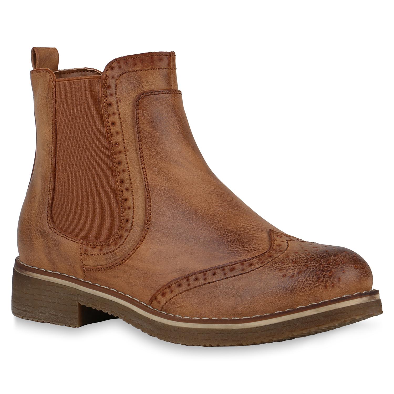 Damen Stiefeletten Chelsea Boots - Hellbraun