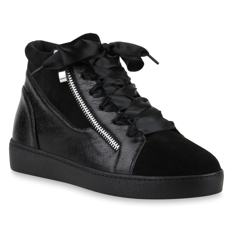 Sneakers für Frauen - Damen Sneaker Wedges Schwarz › stiefelpardies.de  - Onlineshop Stiefelparadies