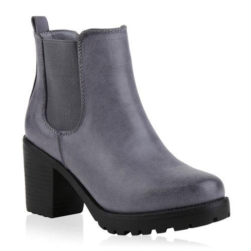 Damen Stiefeletten Chelsea Boots - Blau Grau