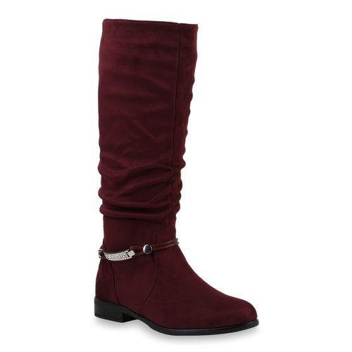 Damen Klassische Stiefel Dunkelrot