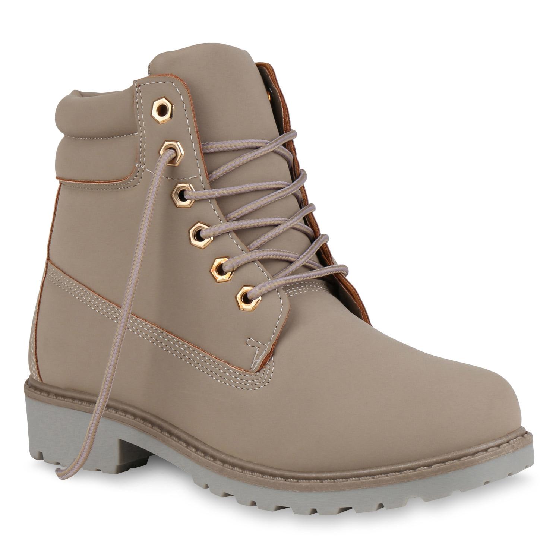 Damen Stiefeletten Worker Boots - Stone