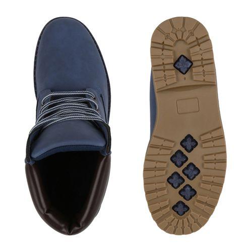 Damen Stiefeletten Worker Boots - Blau