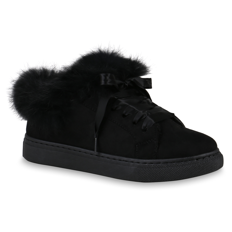 brand new 648a4 67092 Details zu Warm Gefütterte Damen Sneakers Fell Sneaker Low Satinoptik  818368 Schuhe