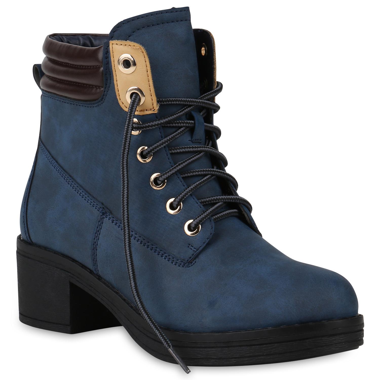 Damen Stiefeletten Schnürstiefeletten - Blau