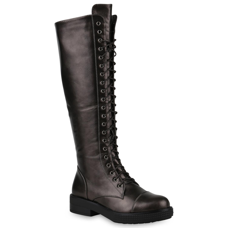 Damen Stiefel Schnürstiefel - Grau Metallic