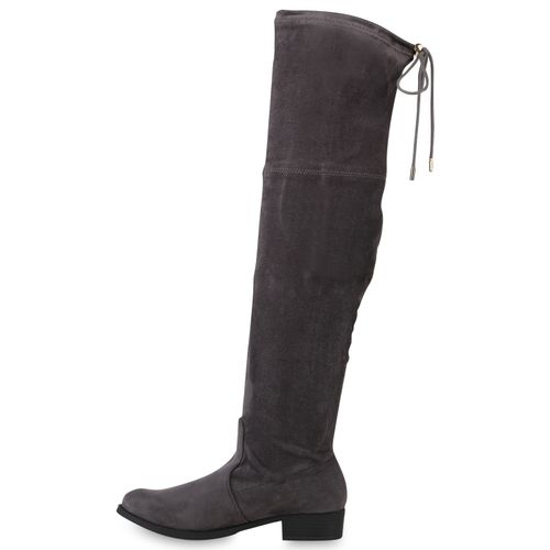 Damen Overknees Damen Grau Stiefel Stiefel Overknees 4HIw5RqO
