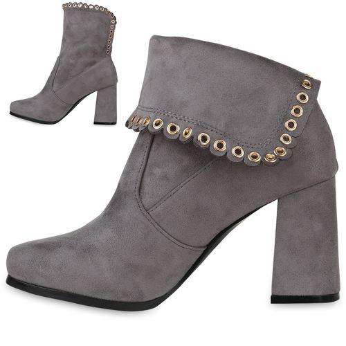 Damen Damen Boots Stiefeletten Stiefeletten Ankle Grau PzvnOxqw