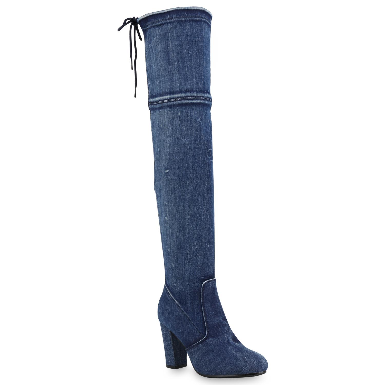 Damen Stiefel Overknees - Blau Denim