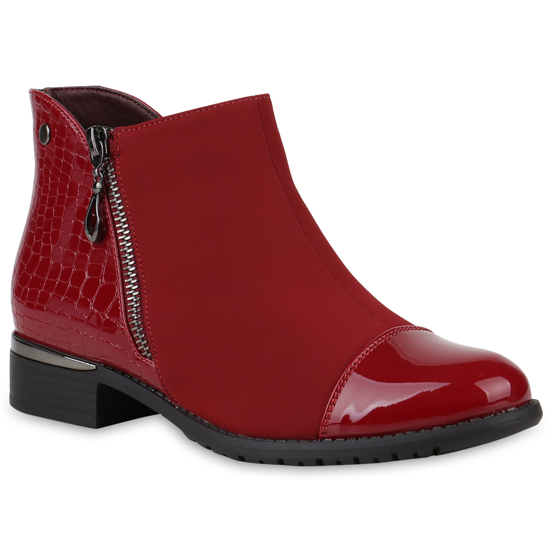 Damen Stiefeletten Ankle Boots - Dunkelrot