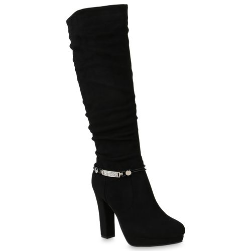 buy popular 986ec b8757 Damen Stiefel Plateaustiefel - Schwarz