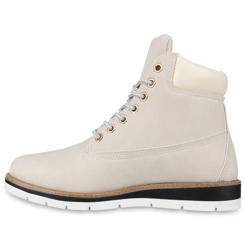 Boots Boots Worker Damen Creme Stiefeletten Worker Creme Damen Stiefeletten Damen FfdqBxnq8