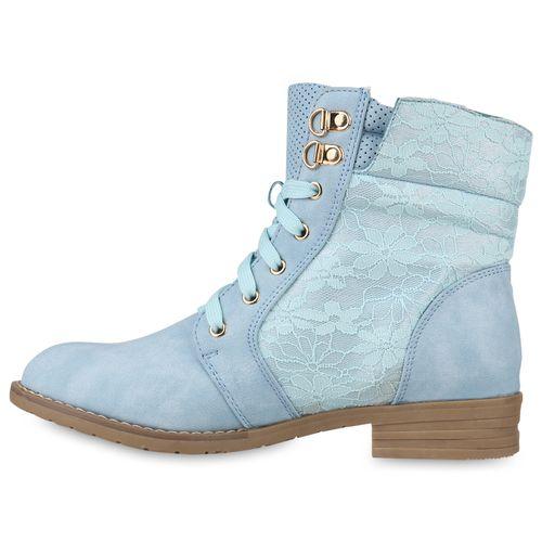 Damen Stiefeletten Schnürstiefeletten - Hellblau
