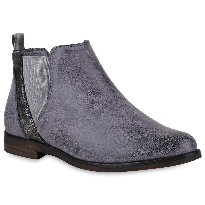 separation shoes d2c6b 373f8 Damen Stiefeletten Chelsea Boots - Blau Grau