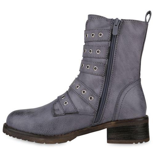 Stiefeletten Biker Boots Grau Blau Damen AF1qPRn1