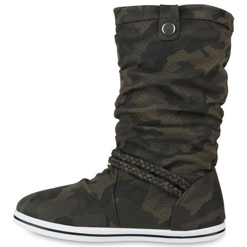 Damen Stiefel Schlupfstiefel - Camouflage